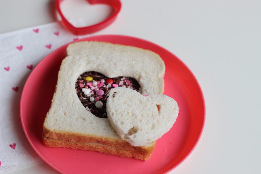 Hartjes boterham voor valentijns dag
